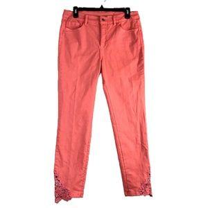 Soft Surroundings coral crochet detail jeans sz 8